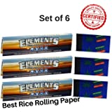 OutonTrip ELEMENTS RICE Rolling paper + Roach Book BIG - Set of 6 (elements paper king size with roach/ocb rolling paper with roach/rolling paper king size)