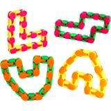 Wacky Tracks Fidget Toys For Stress Relief Bulk Party Pack Of 12 Snap And Click Fidget Chains