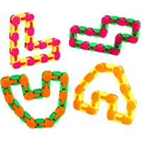 Wacky Tracks Fidget Toys for Stress Relief Pack of 4 Snap and Click Fidget Chains