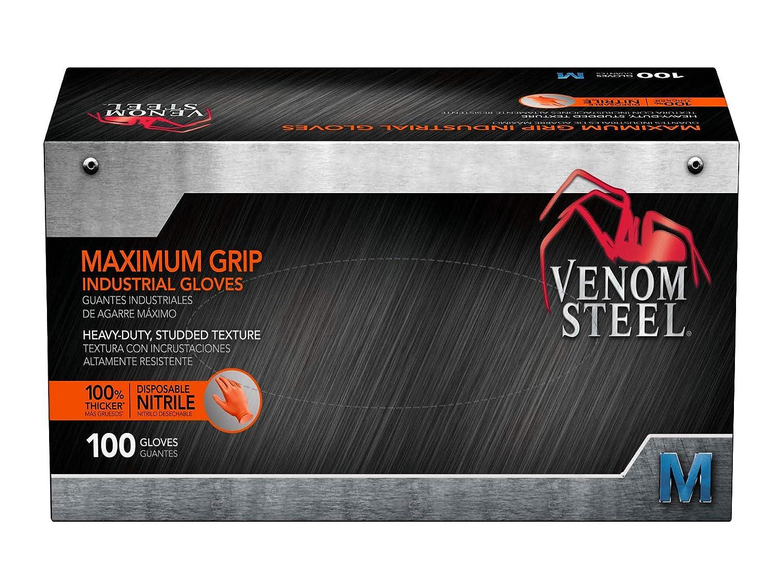 8 Mil Thick Puncture and Rip Resistant 100 Count Raised Diamond Texture for Grip Medium Venom Steel Maximum Grip Nitrile Gloves Hi-Visibility Orange