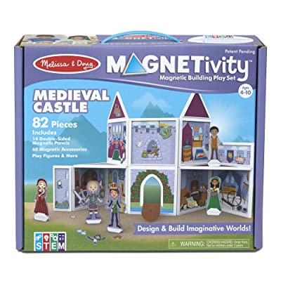 Melissa & Doug Magneticity Magnetic Tiles Building Playset – Medieval Castle (82 Pieces, STEM Toy): Toys & Games