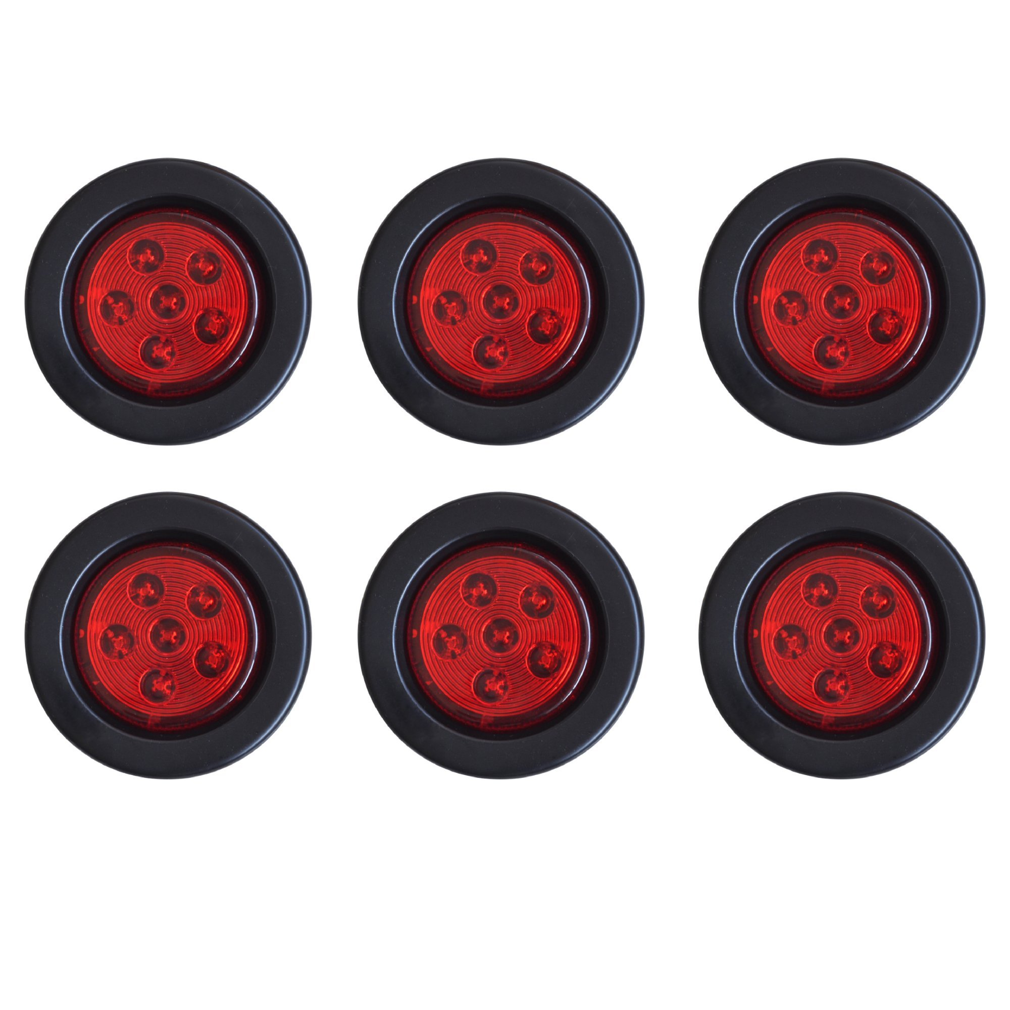 Qty 6-2.5'' Round 6 LED Red Light Truck Trailer Side Marker Clearance Grommet and 2 Wire Pigtail Plug Kit