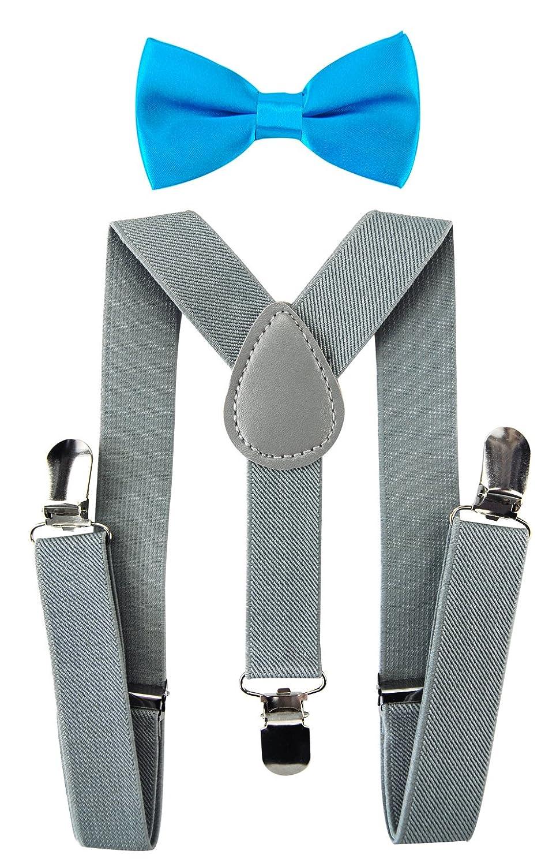 axy Bretelle per bambini a Y con papillon massima tenuta 3 clip colore: grigio chiaro