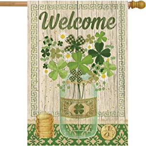 "Briarwood Lane Lucky Clovers St. Patrick's Day House Flag Shamrocks Primitive 28"" x 40"""