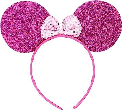 Micky Minnie Mouse orejas, diadema, disfraz, púrpura} despedida de ...