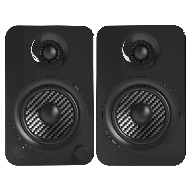 Negro Brilliante Altavoces Kanto YU4 con Bluetooth y preamplificador Phono