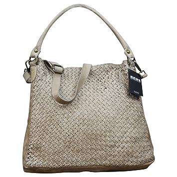 538b11b65fc37 Made in Italy Damen Schultertasche Beuteltasche Bag Shopper Leder Vintage  Geflochten