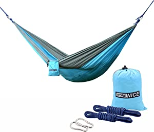WoneNice Camping Hammock - Portable Lightweight Double Nylon Hammock, Best Parachute Hammock with 2 x Hanging Straps for Backpacking, Camping, Travel, Beach, Yard and Garden