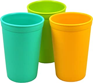 product image for Re-Play 3pk - 10oz. Drinking Cups | Made in USA from Eco Friendly Heavyweight Recycled Milk Jugs - Virtually Indestructible | for All Ages | Aqua, Lime Green, Sunny Yellow | Aqua Asst.
