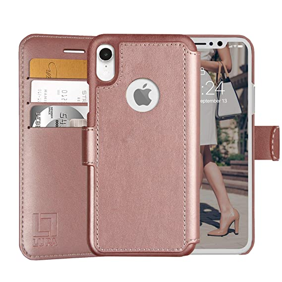 sale retailer f5e0d f8f59 LUPA iPhone XR Wallet case, Durable and Slim, Lightweight with Classic  Design & Ultra-Strong Magnetic Closure, Faux Leather, Rose Gold, for Apple  XR.