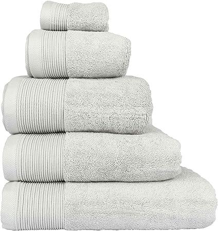 Homescapes – Toalla Supremo Luxe suave y absorbente de algodón egipcio gris plata 700 gr/m², algodón egipcio, gris ...