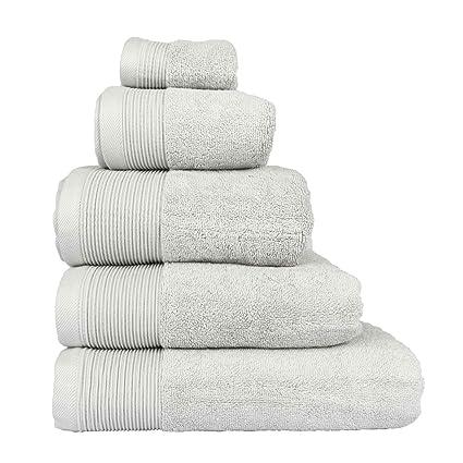 Homescapes – Toalla Supremo Luxe suave y absorbente de algodón egipcio gris plata 700 gr/