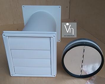 Ventilationnord mauerkasten nw150 dunstabzug edelstahl weiß