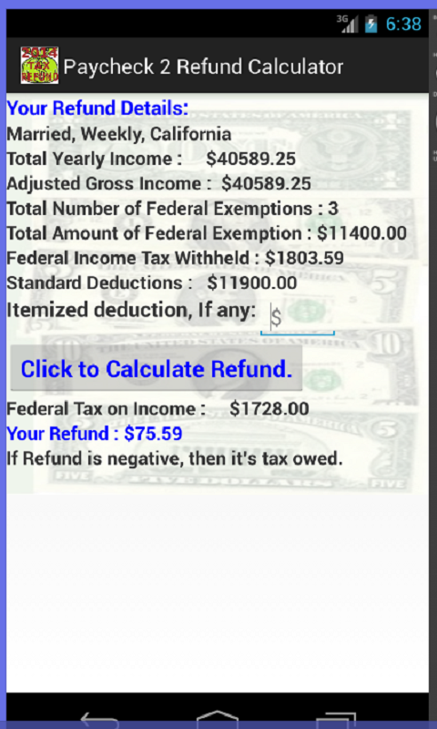 Federal Tax Refund Calculator