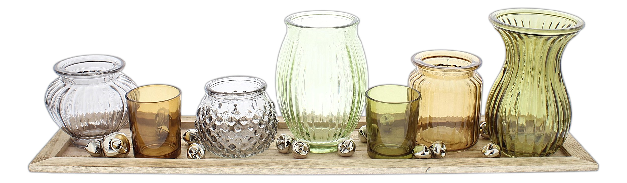 Sullivans Set of 7 Assorted Glass Candle Holder Vases with Wood Tray (Multicolor with Silver Bells)