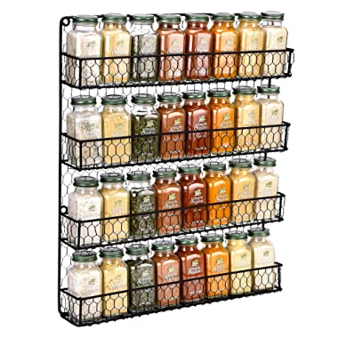 Spice Rack Wall Mounted Spice Rack Organizer Chicken Wire Rural Style Spice Organizer Spice Rack Wall Mount … (4 tier Black Spice Rack)