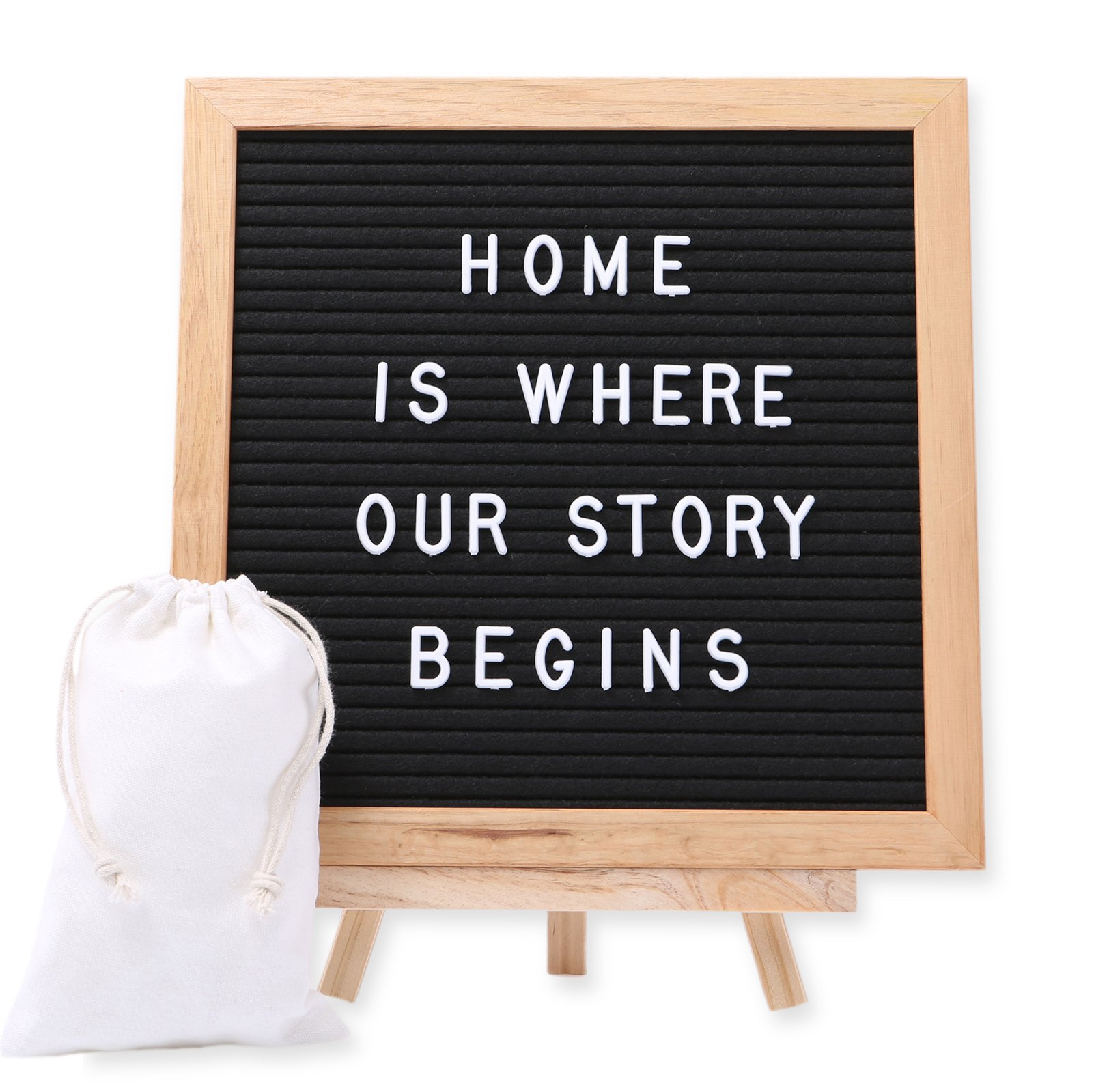 J&A Homes Felt Letter Board Sign - Oak Frame, Black Felt, Over 300 White Letters, Numbers, Special Characters, Symbols and Emojis - Wall Mount and Stand