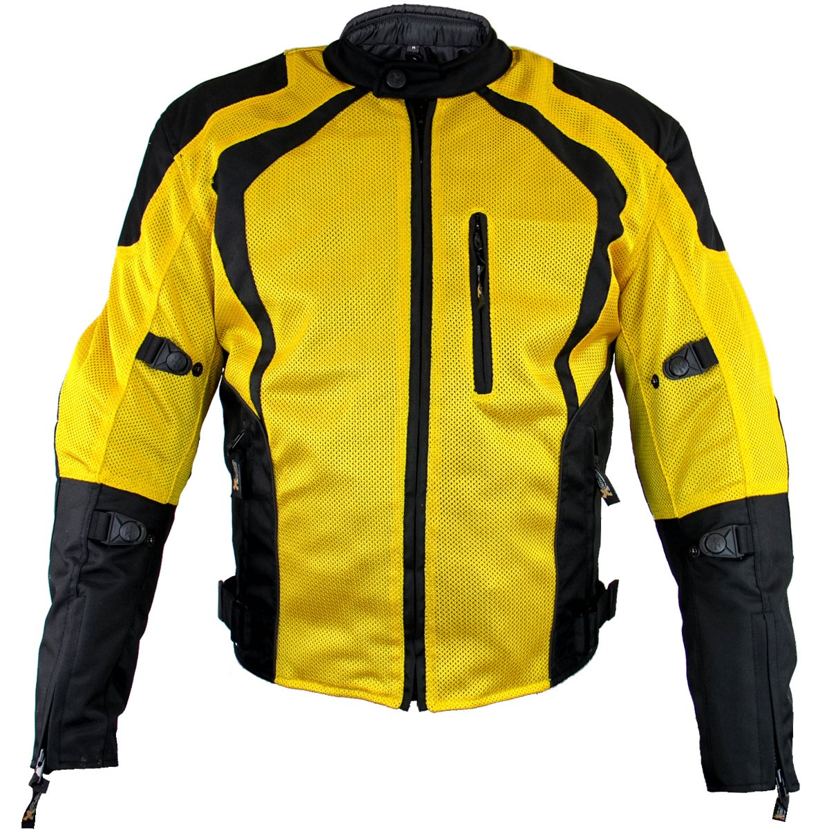 Xelement XS3025 Cyclone Mens Black/Yellow Mesh Tri-Tex Armored Motorcycle Jacke - 2X-Large