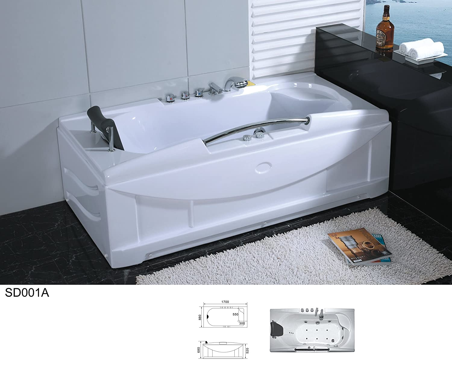 66 Inch White Bathtub Whirlpool Jetted SPA Hot Tub 19 Massage Air ...