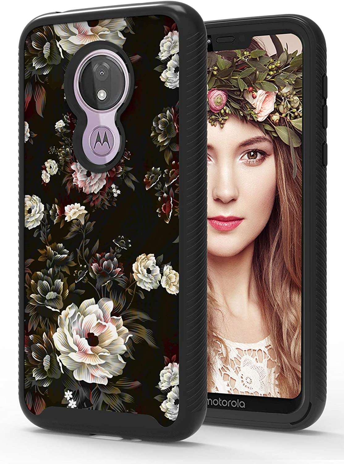 ShinyMax Moto G7 Power Case with Roses Design,Motorola G7 Supra Phone Case,Hybrid Triple Layer Armor Protective Cover Flexible Sturdy Anti-Scratch Shockproof Case for Women and Girls -Black/Flowers