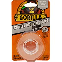"""Gorilla Tough & Clear Mounting Tape, Double-Sided, 1"""" x 60"""", Clear"""
