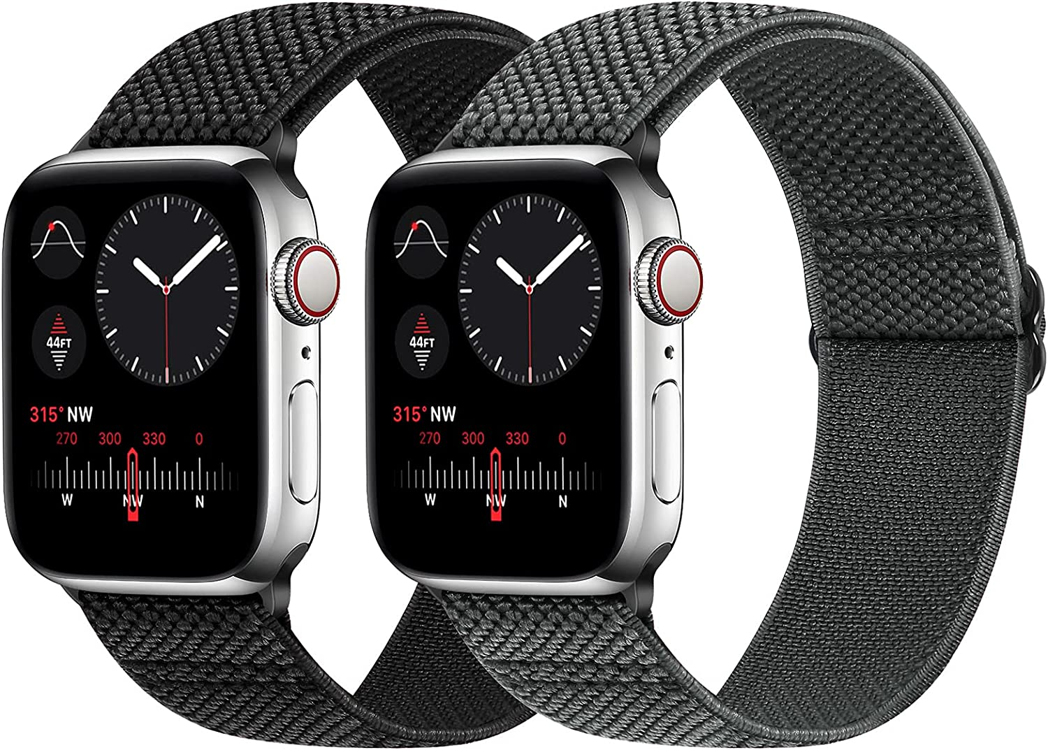 WNIPH Stretchy Nylon Solo Loop Bands Compatible with Apple Watch 44mm/42mm, Adjustable Elastic Braided Sports Replacement Wristband for iWatch Series 6/5/4/3/2/1 SE Women Men (42mm/44mm, Black+Gray)