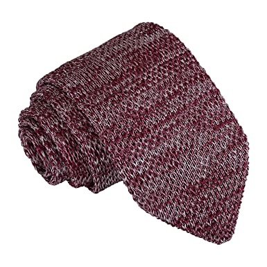b47a13a8e6ce DQT Knit Knitted Formal Melange Plain Speckled Slim Tie Burgundy ...