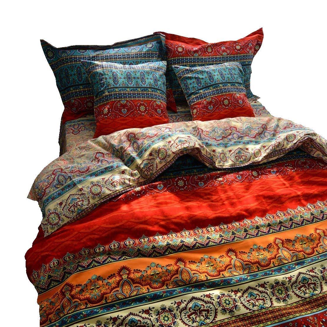 LELVA Boho Duvet Cover Set Queen Colorful Stripe Fitted Sheet Set Bohemian Bedding Set Baroque Style Bedding Set 4pcs