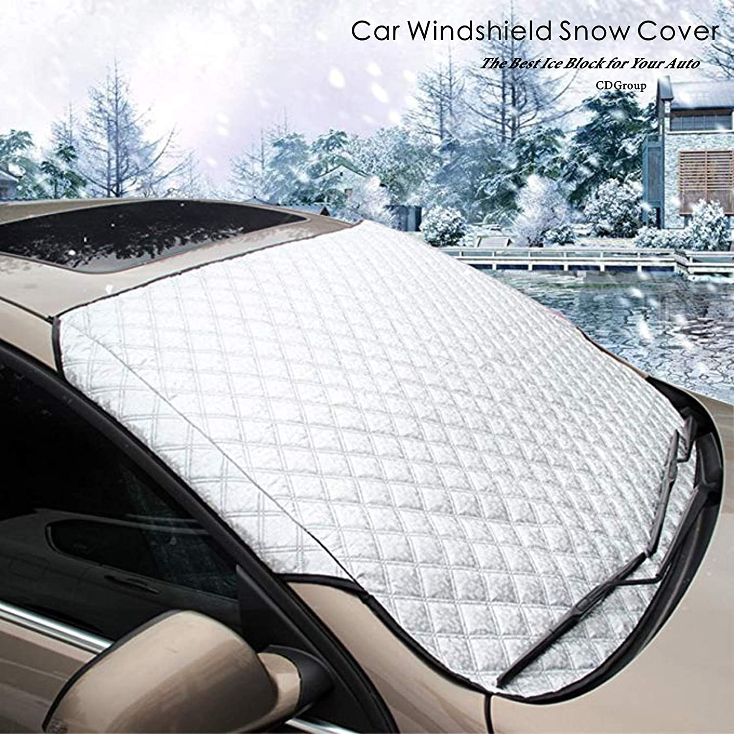 CDGroup Car Windshield Snow Cover Frost Guard Windshield Cover for Winter Snow Frost Ice Dust Removal Winter Windshield Cover SUV Car Front Sunshade Universal All Weather CDG-Hazgoldaz