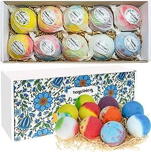 Bath Bombs Gift Set, 10 Handmade Organic Bubble Bath Bombs, Wonderful Fizz Effect Bath Gift for Valentine's Day, Christmas & Any Anniversaries