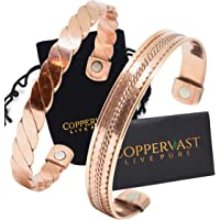 Copper Bracelets for Arthritis - Therapy Magnetic Bracelets for Men and Women with 2 Powerful Magnets - Effective and Natural Relief for Joint Pain and Arthritis Set of 2 (Twisted with Inlay)