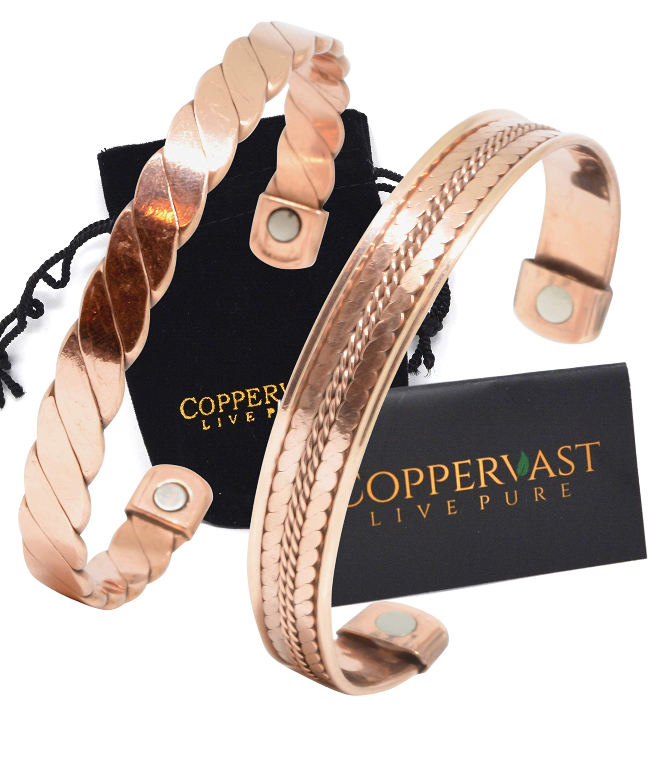 Copper Bracelets for Arthritis - Therapy Magnetic Bracelets for Men and Women with 2 Powerful Magnets - Effective and Natural Relief for Joint Pain and Arthritis Set of 2 (Twisted with Inlay) by Coppervast