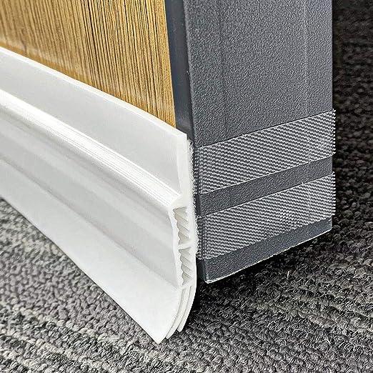 Holikme Door Draft Stopper Under Door Draft Blocker Insulator Door Sweep Weather Stripping Noise Stopper Strong Adhesive White 39 Length Grey