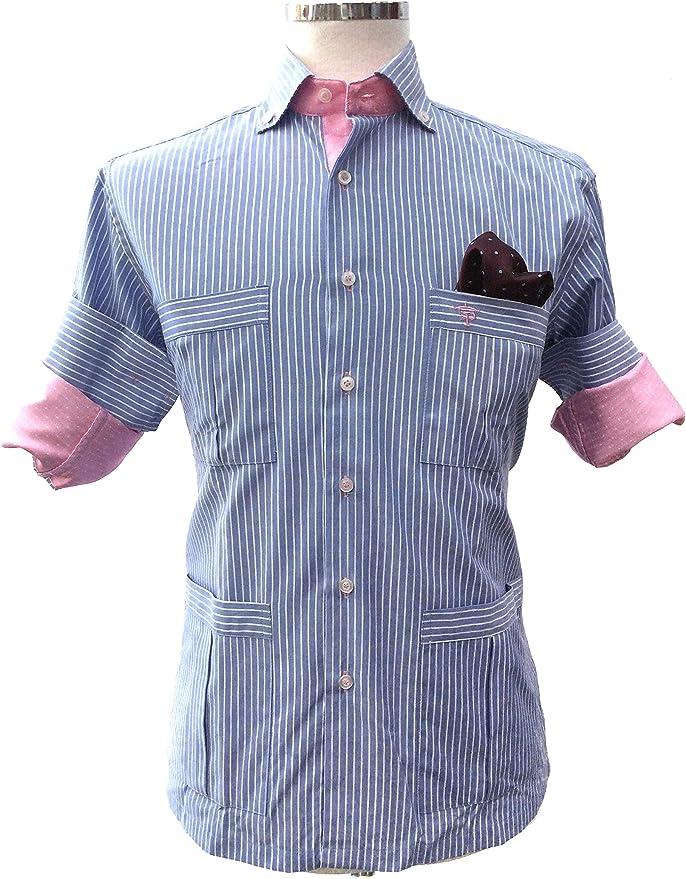 Francisco Pavón Camisa Casual Guayabera 1000 Rayas Celeste y Blanca. (XS): Amazon.es: Ropa y accesorios