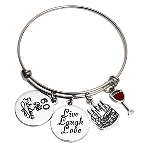 LParkin 60th Birthday Gifts For Girls Her Stainless Steel Expandable Bangle White