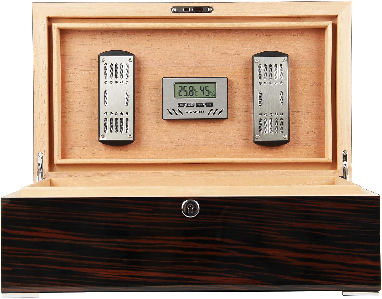 CIGARISM Piano Finish Solid Spanish Cedar Cigar Humidor 75-100 Count (Ebony)