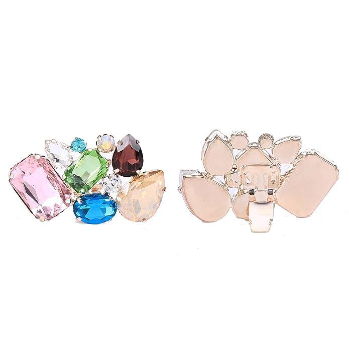 Santfe - Clip per scarpe in strass scintillanti, cristalli decorativi di tendenza per scarpe, ideali per feste di nozze, colori e forme vari