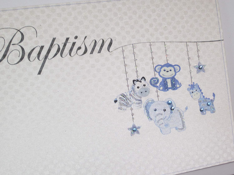 White Cotton Cards Baptism Mini Photo Album Blue Toy Animals HTBB1T