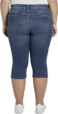 TOM TAILOR MY TRUE ME damskie spodnie jeansowe Slim Fit Capri Jeans - Capri 46: Odzież