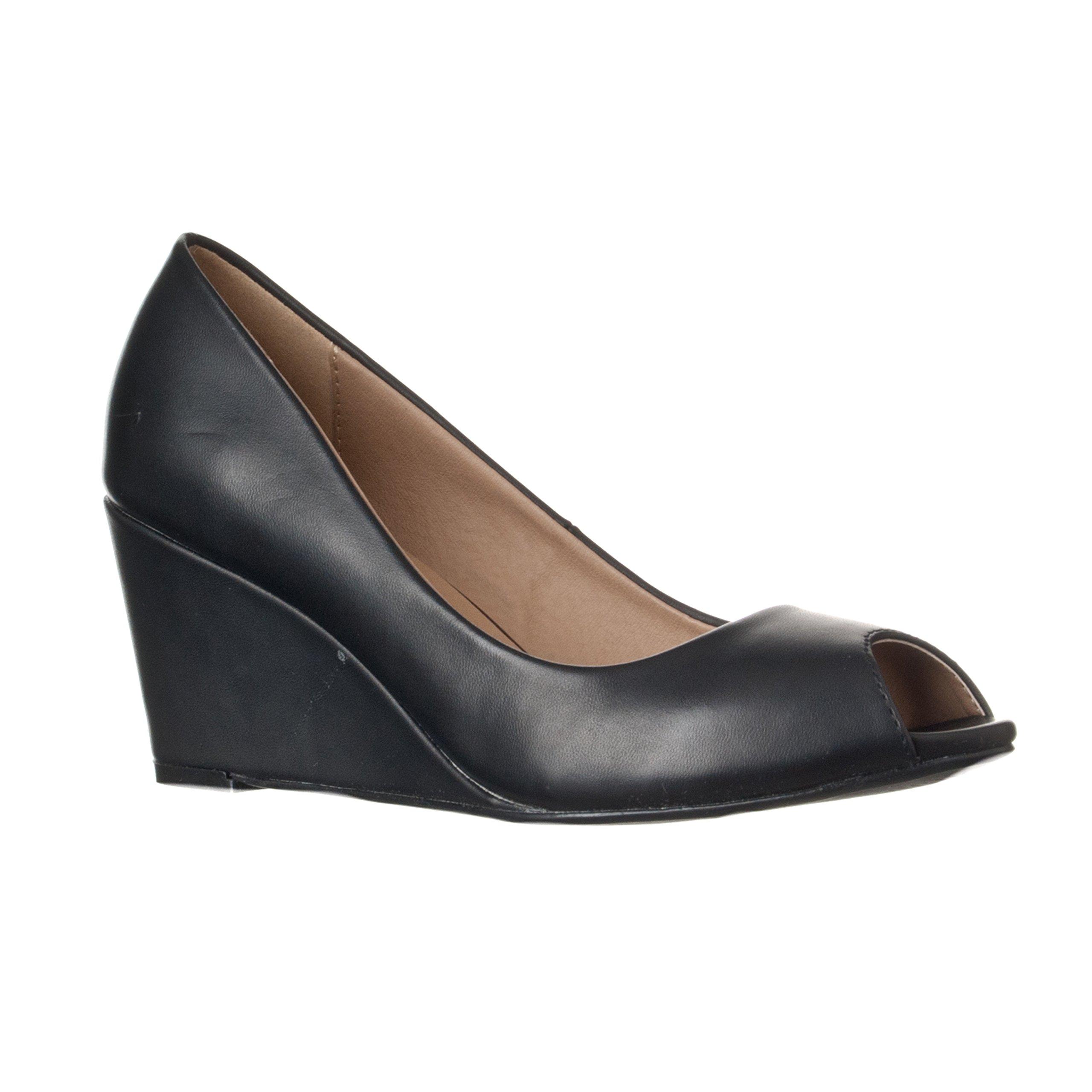 Riverberry Women's Addie Mid-Height Peep Toe Wedge Pumps, Black PU, 6.5