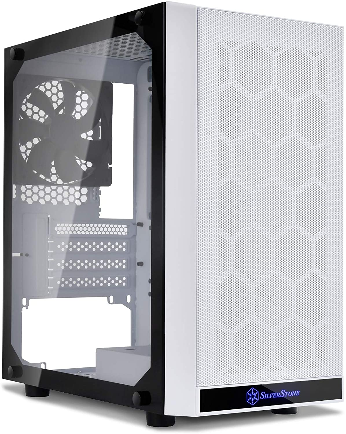 Silverstone SST-PS15W-G (White + Tempered Glass Window) Micro-ATX, Mini-DTX, Mesh Front Panel, Steel Body, Tempered Glass Side Panel