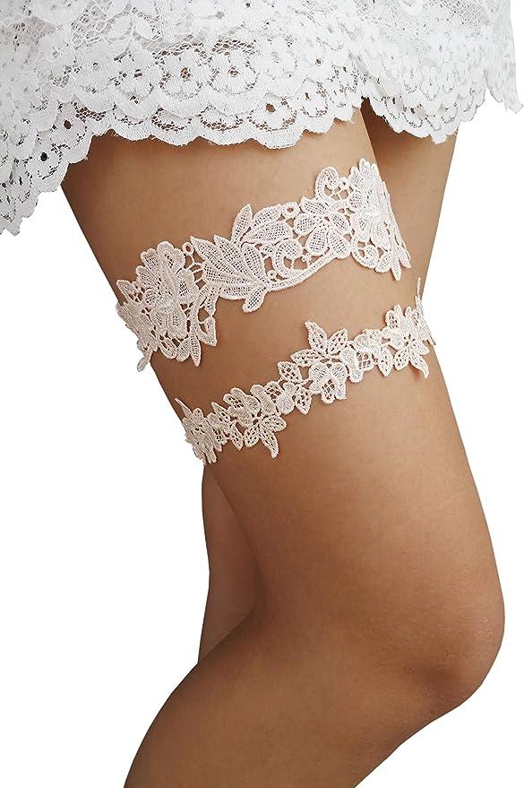 Something blue Toss garter no slip soft elastic Bridal garter set Blue lace /& chiffon floral wedding garter set