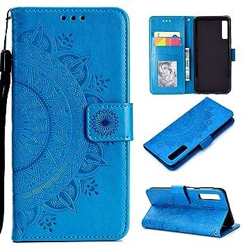 Funda para Samsung Galaxy A7 2018, Carcasa Libro con Tapa Flip Case Antigolpes Cartera Billetera PU Cuero Polipiel Suave - Mandala Azul