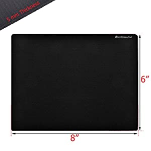 "Micro Mouse Pad Small 8""x 6"" Black Non-Slip Rubber Base Mousepad for Laptop Or Desktop Gaming Mat Optical Laser Compatible"