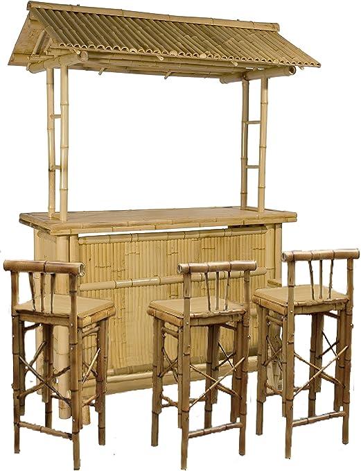 Rivas - Juego de bar para exterior (barra y taburetes, bambú ...