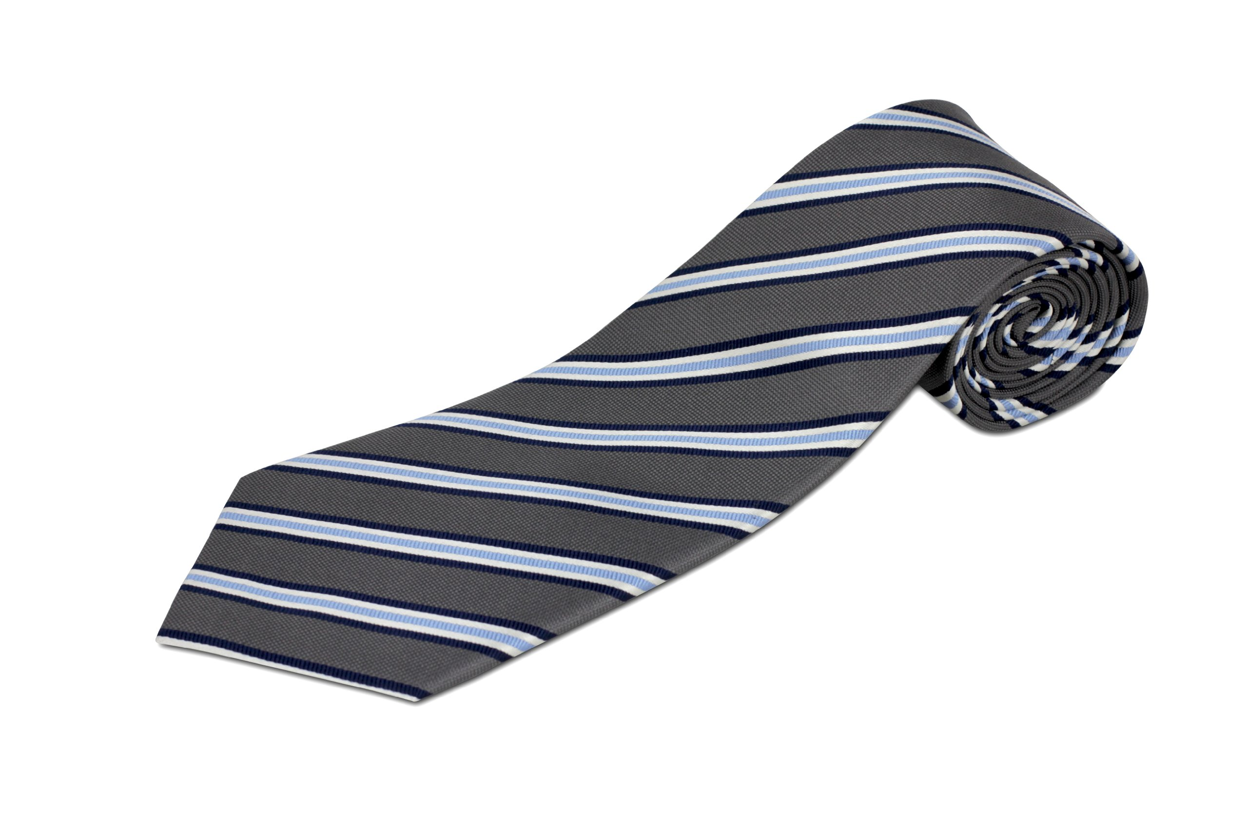 Extra Long Gray and Blue Striped Silk Tie by Longtiestore (Image #1)