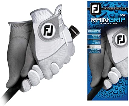 FootJoy Men's RainGrip Golf Gloves, Pair (White) best golf glove