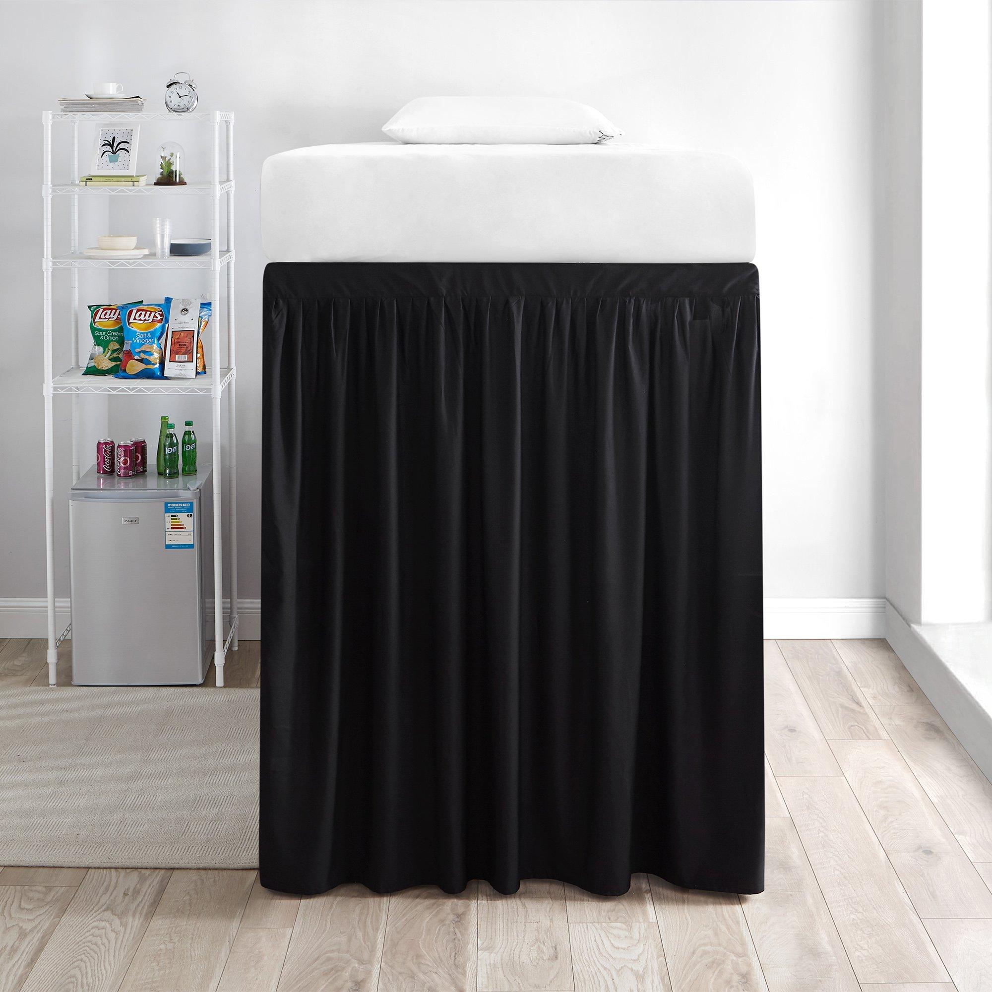 DormCo Extended Bed Skirt Twin XL (3 Panel Set) - Black