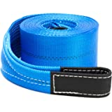 """Driver Recovery 4"""" x 30'Heavy Duty Tow/Recovery Winch/Snatch Strap with Reinforced Loops - 20,000 Pound Pulling Power for Emergency Towing"""