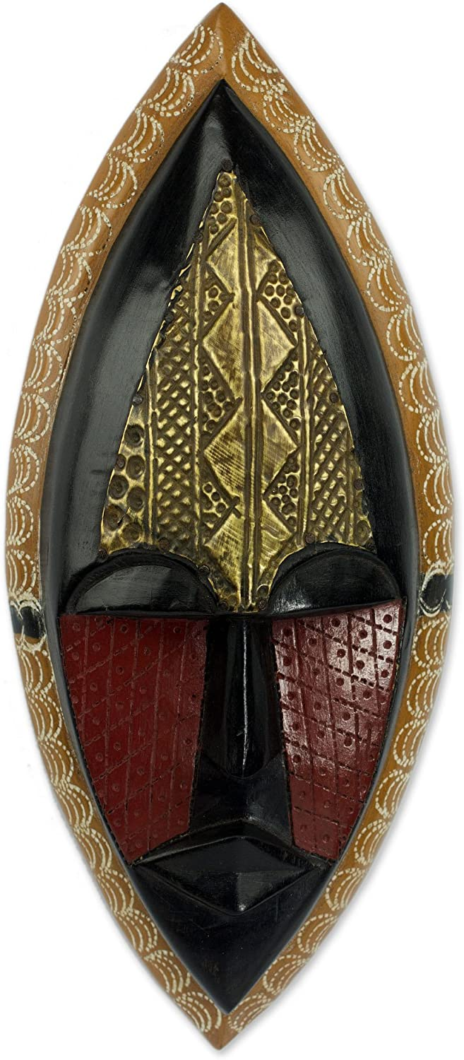 NOVICA Black and Red Sese Wood African Wall Mask with Brass Accents, A Peace Blessing'